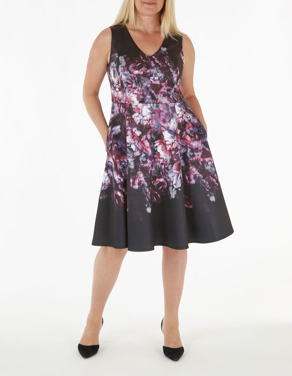 Pink Floral Print Fit & Flare Dress, Pink, hi-res