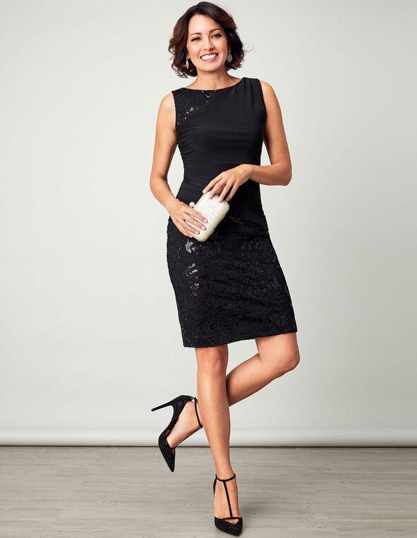 Black Sequin Shift Dress, Black, hi-res