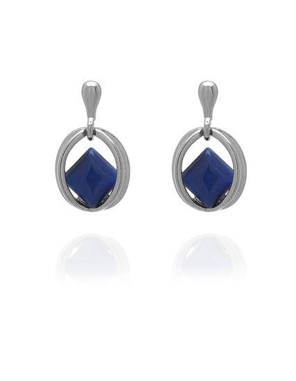 Blue Cat Eye Earrings, Blue, hi-res