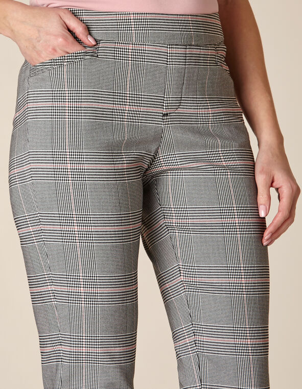 Grey Plaid Slim Ankle Pant, Grey/Rose, hi-res