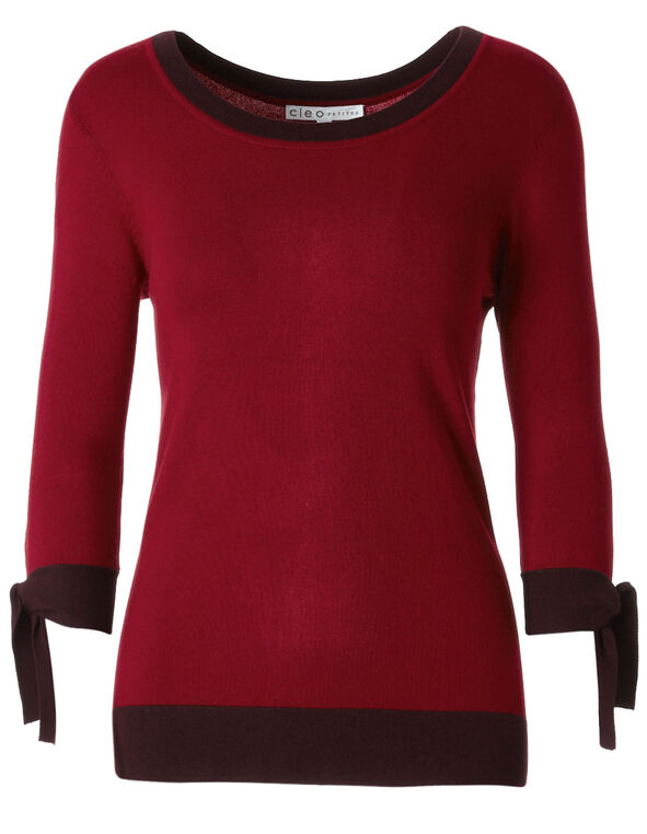 Red Contrast Sweater, Red, hi-res