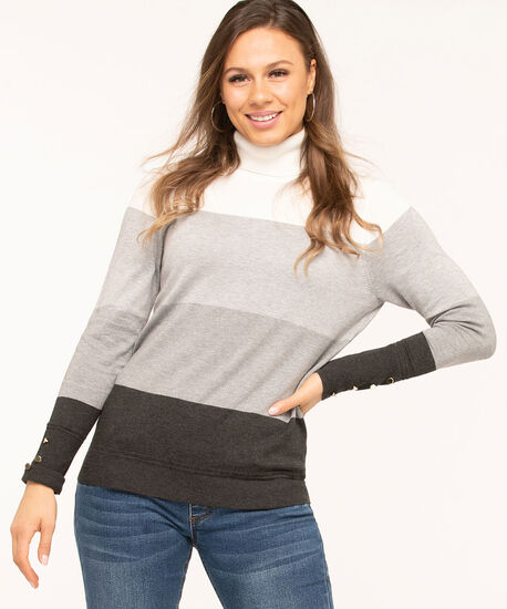 Long Sleeve Essential Turtleneck, Charcoal/Grey/Ivory Stripe, hi-res