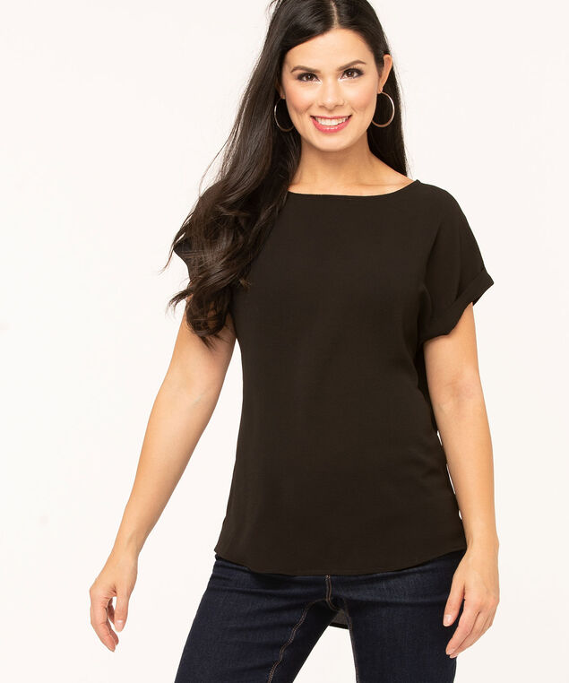 Short Sleeve Scoop Neck Blouse, Black, hi-res