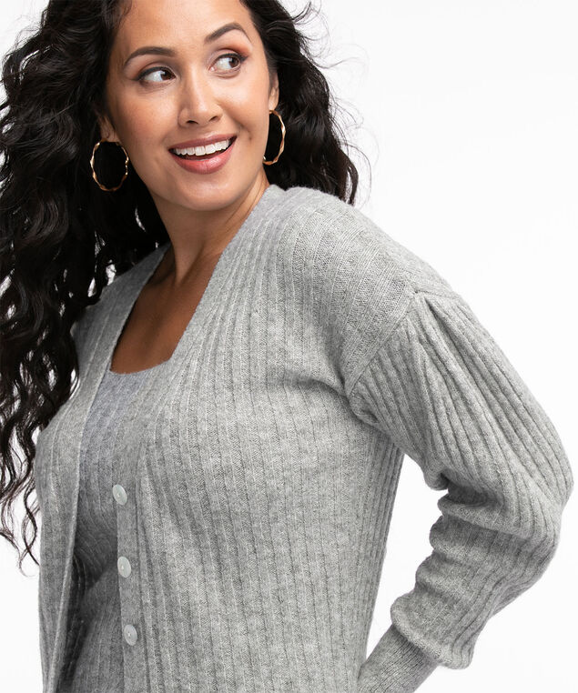 Recycled Button Front Cardigan, Grey Mix