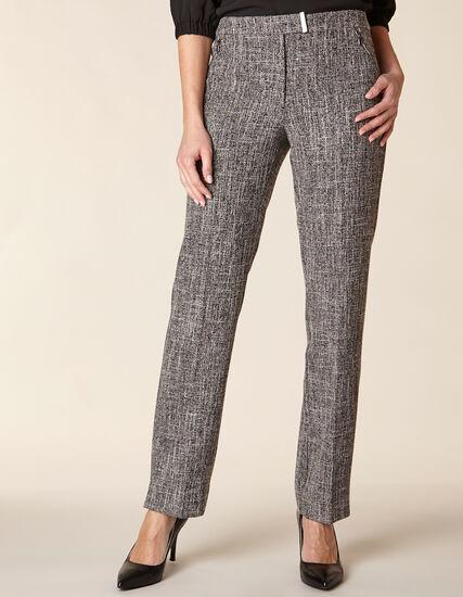 Grey Crosshatch Straight Leg Pant, Grey, hi-res