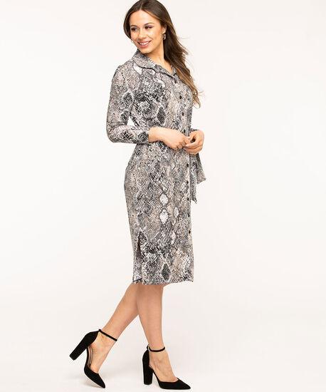 Grey Python Belted Shirt Dress, Grey, hi-res