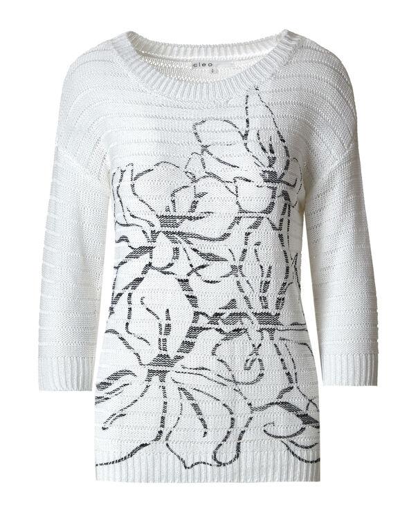 White Acrylic Open Stitch Pullover, White, hi-res