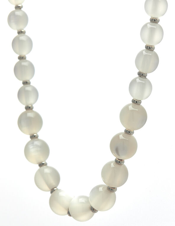 Milky White Beaded Short Necklace, White, hi-res