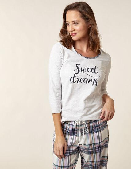 Grey Plaid Cotton Pyjama Set, Grey, hi-res
