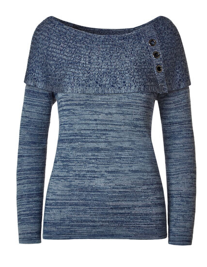 Blue Marilyn Grommet Sweater, Blue, hi-res