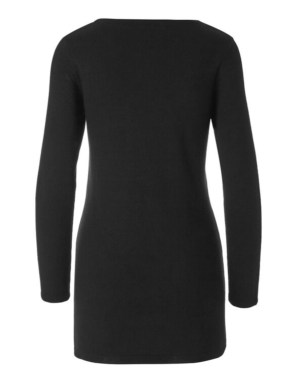Black Tunic Sweater, Black, hi-res