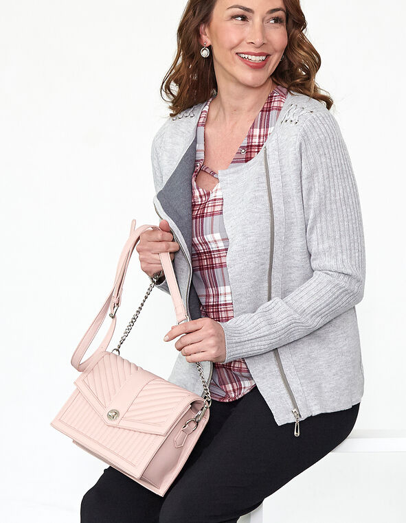 Pink Quilted Crossbody Lady Bag, Pink, hi-res