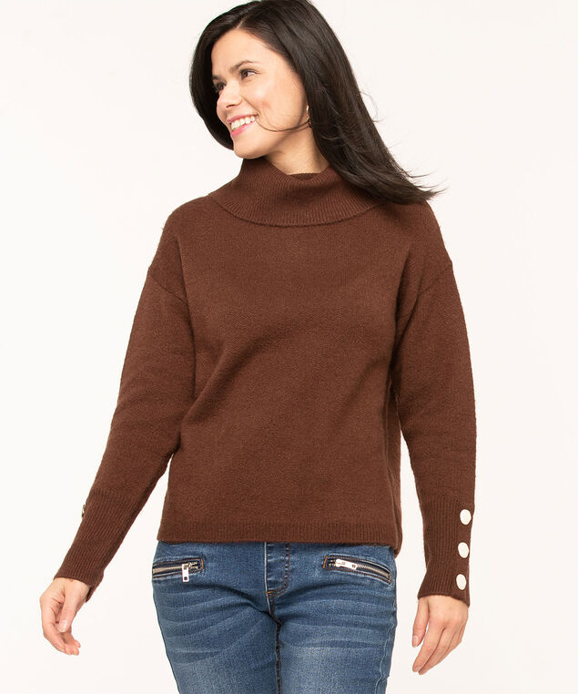 Button Cuff Turtleneck Sweater, Dark Brown
