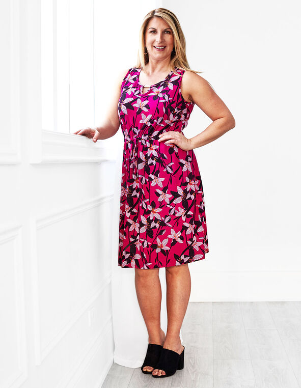 Hot Pink Floral Tie Waist Dress, Hot Pink, hi-res
