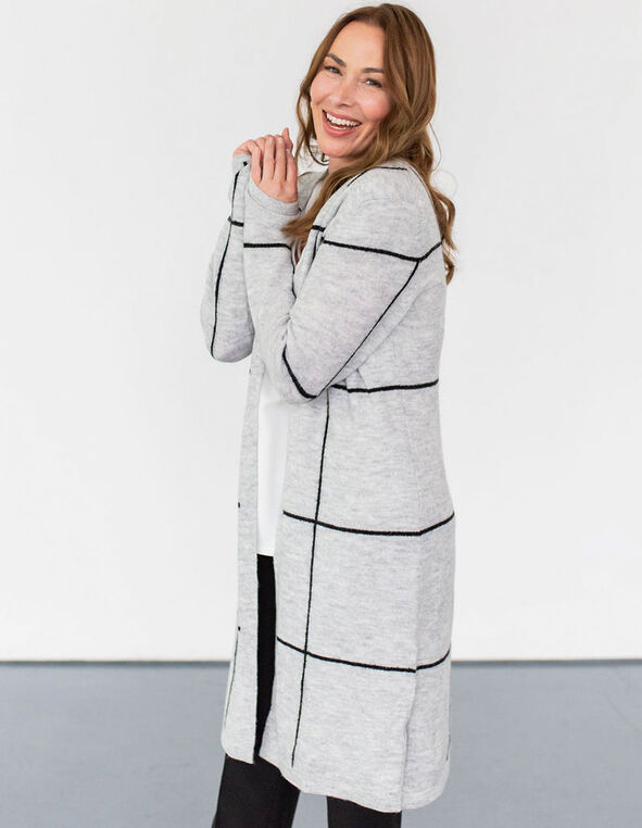 Grey Windowpane Open Cardigan, Grey, hi-res