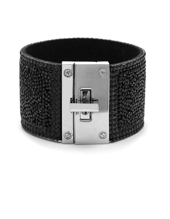 Black Glitter Wrap Bracelet, Black, hi-res