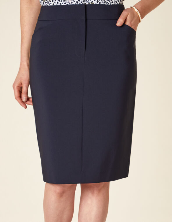 Navy Zip Front Pencil Skirt, Navy, hi-res