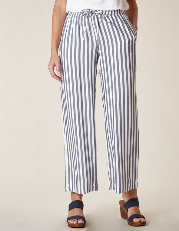 Blue Striped Gauze Palazzo Pant, Blue/White, hi-res