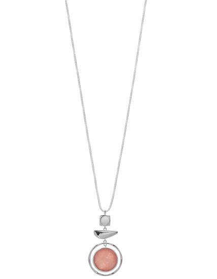 Pink Circle Pendant Long Necklace, Pink/Silver, hi-res