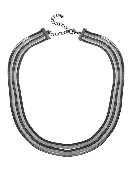 Muti-Snake Chain Short Necklace, Silver/Hemi, hi-res