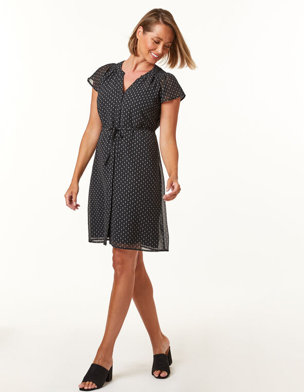 Black geo pleated dress, Black, hi-res