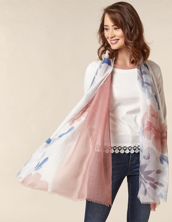 Blush Floral Print Scarf, Pink/Blush, hi-res