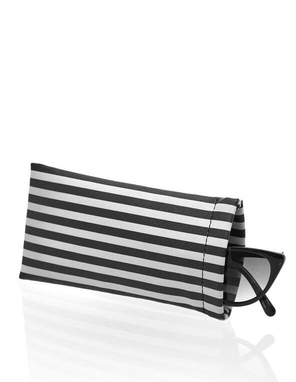 White & Black Striped Sunglasses Case, Black/White, hi-res