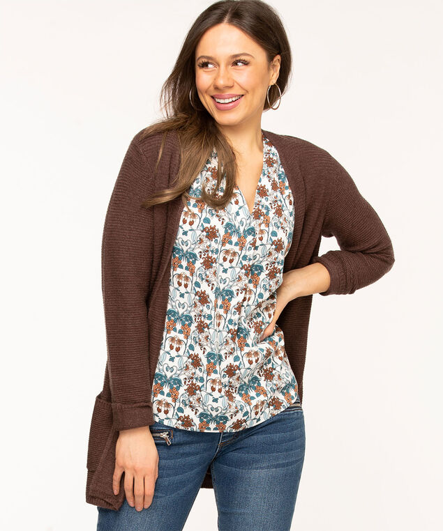 Sleeveless V-Neck Gathered Blouse, Ivory/Teal/Brown Floral
