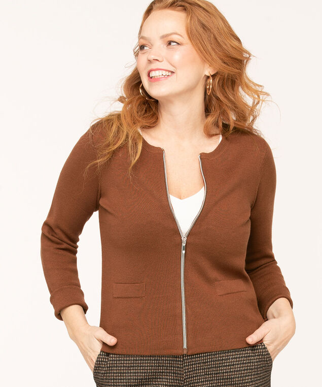 Long Sleeve Zip Front Cardigan, Brown, hi-res