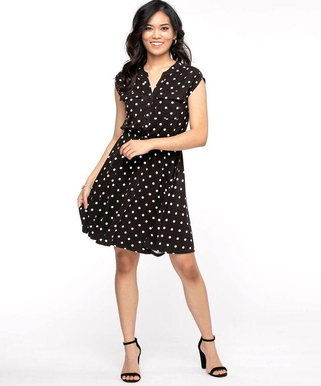 Short Sleeve Printed Dress, Black/White Dot