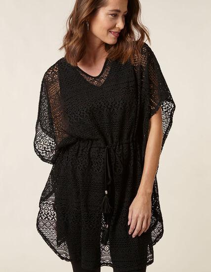 Black Crochet Pullover Cover Up, Black, hi-res