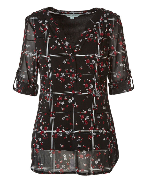 Black Floral Chiffon Top, Red, hi-res