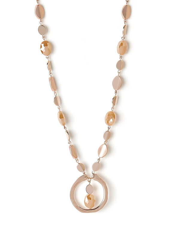 Rose Gold Beaded Necklace, Rose, hi-res