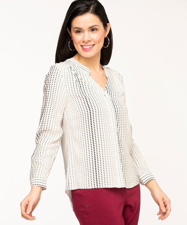 V-Neck Hidden Button Blouse, Ivory/Black Dots