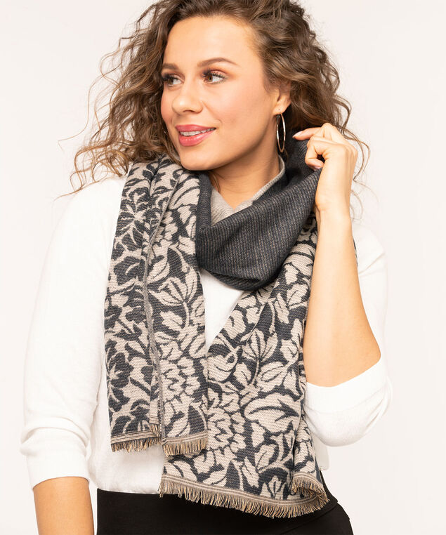Floral Border Oblong Scarf, Navy Mix, hi-res