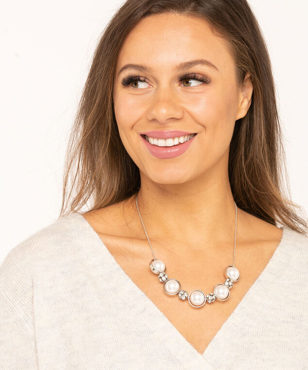 Pearl & Crystal Statement Necklace, Silver/Pearl