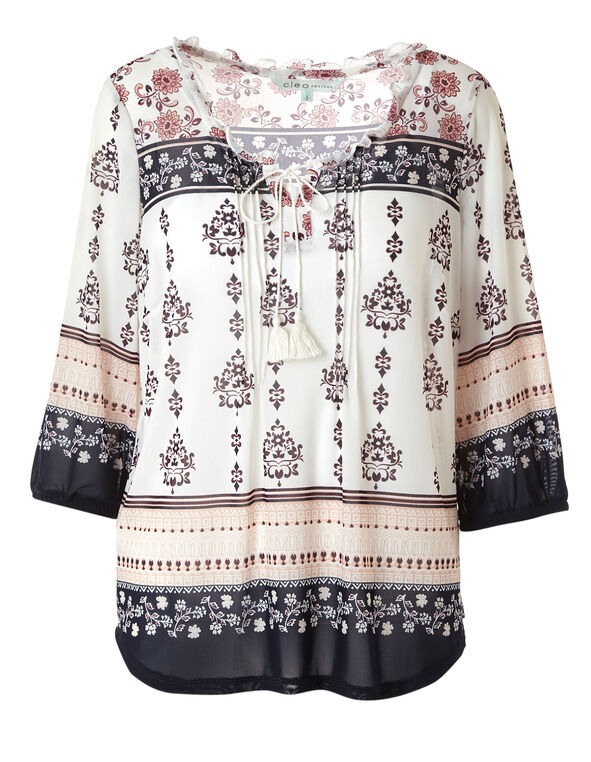 White Printed Peasant Top, White, hi-res