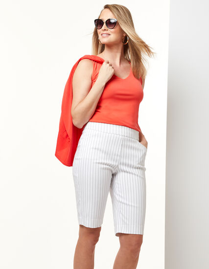 Striped Pull On Short, White, hi-res