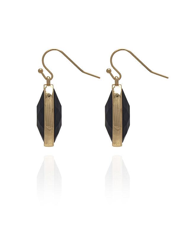 Gold Black Enamel Drop Earring, Black/Gold, hi-res