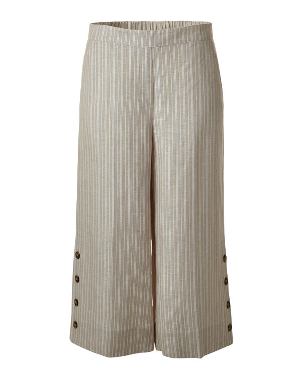 Tan Striped Wide Leg Capri, Tan, hi-res