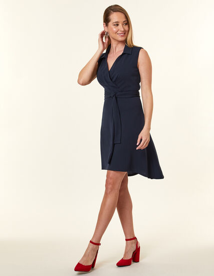 Navy Crepe Fit & Flare Dress, Navy, hi-res