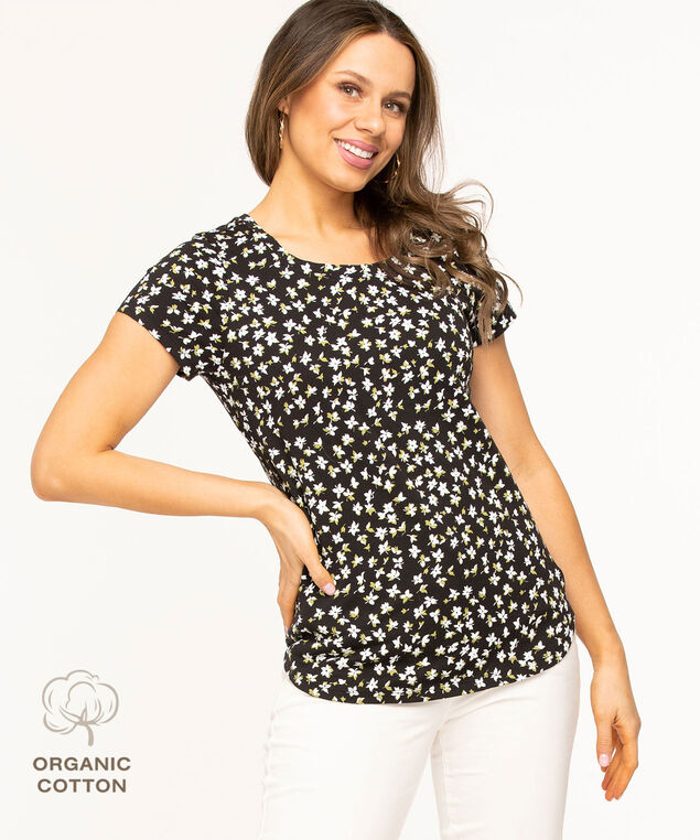 Organic Cotton Scoop Neck Tee, Black/White Floral