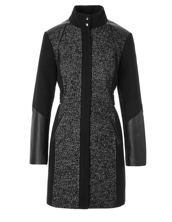 Black Mix Faux Leather Coat, Black/White, hi-res