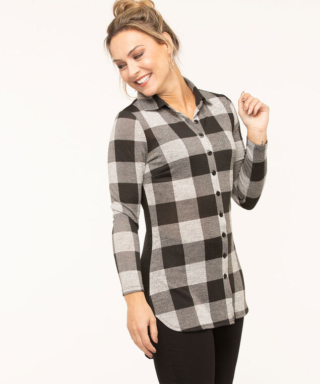 Long Button Front Shirt, Black/White, hi-res