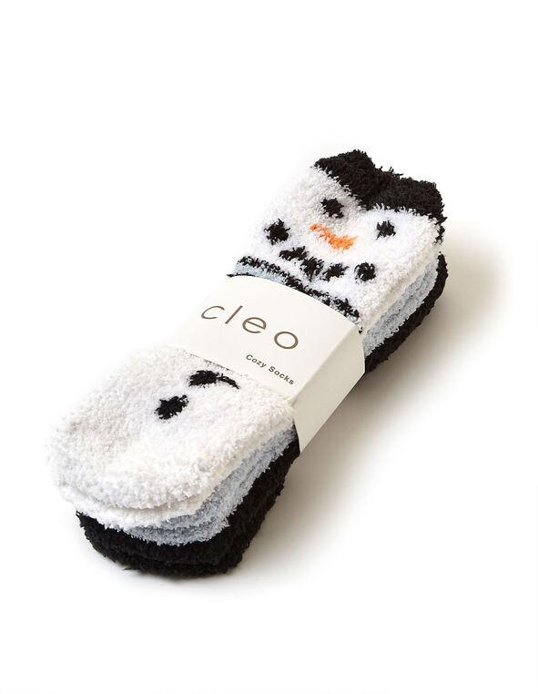 Snowman Plush Sock 3-Pack, Blue/White, hi-res