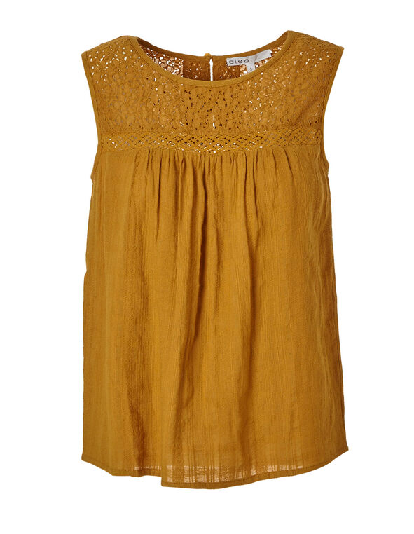 Ochre Sleeveless Blouse, Mustard, hi-res