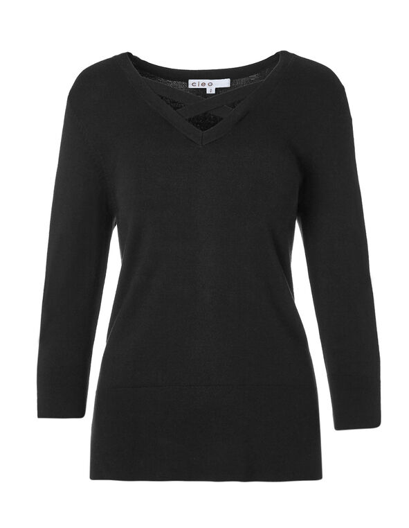Black Criss Cross Neckline Sweater, Black, hi-res