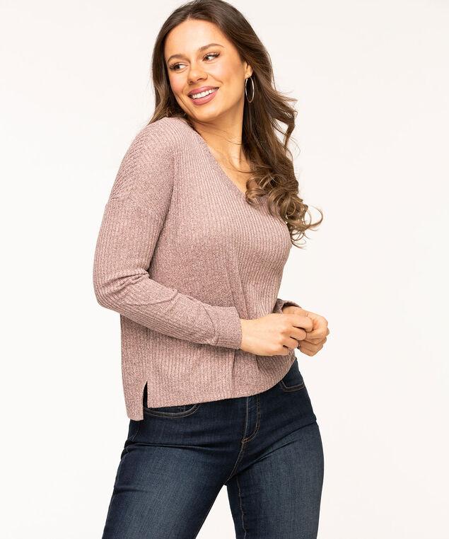Pink Lightweight Knit V-Neck Top, Ballet Pink Mix