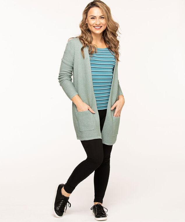 Long Open Ottoman Cardigan, Soft Green
