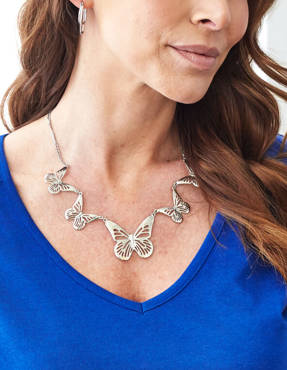 Silber Butterfly Short Statement Necklace, Silver, hi-res
